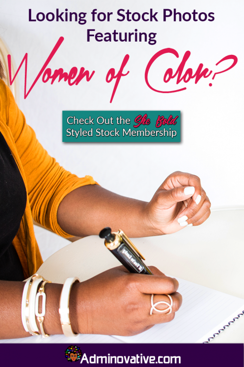 Woman of color holding a pen. Find out how you can get access to great feminine stock photography for under $20 a month with She Bold Stock adminovative.com